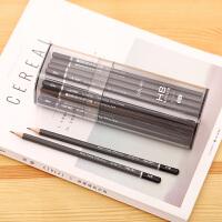 文具书写HB铅笔六角笔杆铅笔桶装50支学生素描铅笔