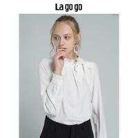【5折价179.5】Lagogo/拉谷谷2018冬季新款气质优雅冷淡风女神衬衫HCSS53XC11