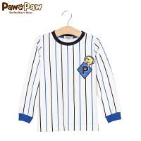 【3件2折 到手价:72】Pawinpaw宝英宝小熊童装款男童卡通条纹圆领T恤