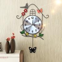 复古家用创意个性时钟表挂钟客厅田园摇摆小鸟时尚装饰静音石英钟 挂钟(送立体蝴蝶) 20英寸