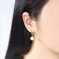 正圆大珍珠耳环女长款气质韩简约吊坠耳坠耳钉饰品 925银耳环一对(擦银布+包装)