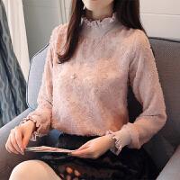 雪纺衫女长袖2018春装新款韩版甜美立体花朵小衫木耳花边立领上衣