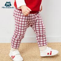 迷你巴拉巴男女宝宝纯棉裤子2019春秋新品婴儿时尚针织裤婴儿长裤