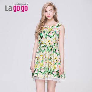 lagogo韩版春夏装新款圆领印花连衣裙女显瘦修身收腰裙子蓬蓬裙