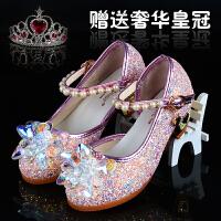 灰姑娘透明水晶鞋2018春季女童单鞋儿童公主皮鞋小女孩高跟表演鞋