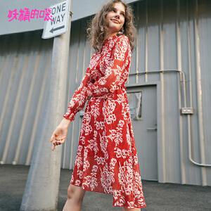 【低至1折起】妖精的口袋a字裙秋裙新款女2018欧货红色碎花女式长袖连衣裙女