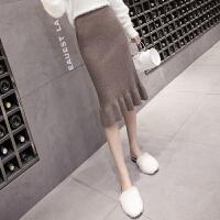 针织半身裙女2017新款高腰裙子秋冬包臀荷叶边一步裙中长款毛线裙 均码