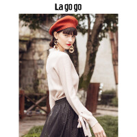 【5折价216.5】Lagogo2018冬季新款时尚毛衣米色上衣淑女蕾丝针织衫女HCMM439H24