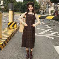 秋冬新款女装韩版学院风复古百搭格子背带裙学生中长款无袖连衣裙