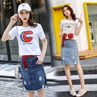 套装女夏季新款韩版时尚修身短袖T恤牛仔包臀一步裙两件套潮