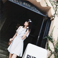 2017夏装新款韩版气质高腰短裙时尚学生修身显瘦收腰短袖连衣裙女