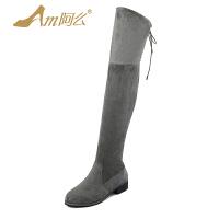 【冬季清仓】阿么绒面过膝长靴中跟磨砂女鞋绑带修腿显瘦粗跟弹力靴子
