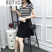 ECTIC 2018夏装新款连衣裙黑白条纹中长款短袖修身显瘦韩版女装百搭裙子 黑色 2-2条纹