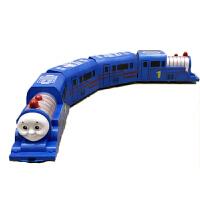 大号和谐号小火车玩具电动万向仿真托马斯火车男孩4岁玩具车 蓝色74.5厘米 充电版(送充电器+6节充电电池)