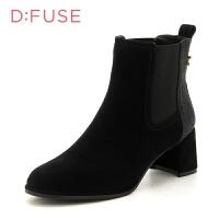 迪芙斯(D:FUSE)水钻饰扣尖头百搭粗跟切尔西短靴女靴 DF74116050