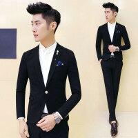 新款韩版小西装男修身休闲西装外套一粒扣夜场黑色青年小西服上衣