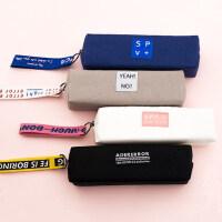 小清新简约笔袋帆布可爱小学生中学生大学生文具袋男女生韩国创意铅笔盒