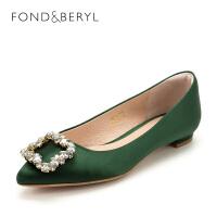 菲伯丽尔(Fondberyl)春织物方跟尖头单鞋FB81111069