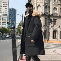 冬季棉衣外套男士工装棉袄2018新款潮中长款连帽韩版潮流加厚 919黑色