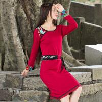 实拍女装2018春款原创设计民族风连衣裙女士文艺复古绣花中长裙子 红色