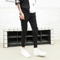 春季新品韩版修身薄款小脚裤个性拼接褶皱发型师显瘦裤子男潮流