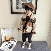 男童加绒外套冬装2018新格子羊羔毛儿童加厚英伦宝宝棉衣上衣 格子