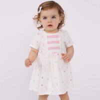 davebella戴维贝拉夏装新款女童短袖连衣裙 宝宝印花裙子DBF7094