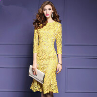 2018秋装新款蕾丝连衣裙中长款修身包臀鱼尾裙礼服女装9103 黄色