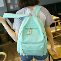 2017新款韩版纯色书包中学生女帆布双肩包女 简约休闲女电脑背包