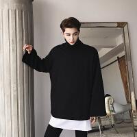 新款欧美高街男士韩版宽松纯色小高领卫衣男装秋季个性套头衫潮流