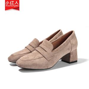 小红人【年终狂欢】2018新款超纤单里单鞋女鞋子高跟粗跟春季英伦套脚奶奶鞋百搭鞋子女3602