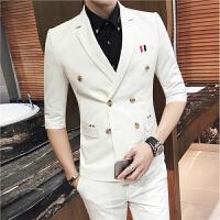 夜店酒吧KTV少爷七分袖小西服+九分裤休闲两件套装男士小西装外套