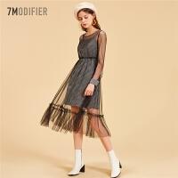 【3折到手价119元】高腰性感蕾丝中长款连衣裙女新款收腰修身网纱显瘦裙子女