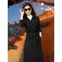 2018秋冬新款韩版风衣女装长袖双排扣中长款外套黑色收腰修身显瘦 黑色 X