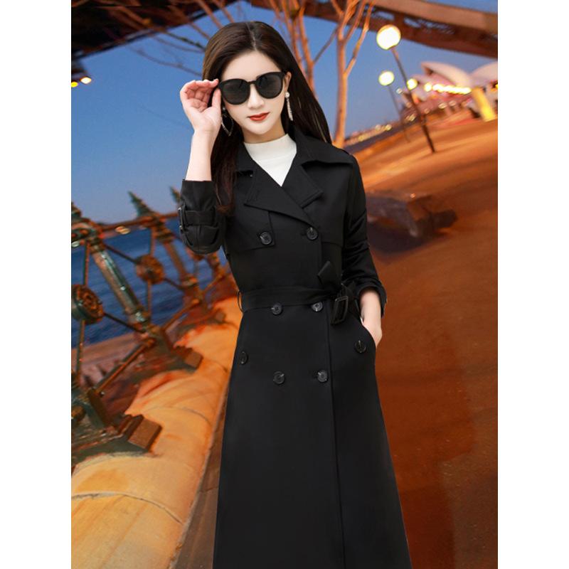 2018秋冬新款韩版风衣女装长袖双排扣中长款外套黑色收腰修身显瘦 黑色 X 发货周期:一般在付款后2-90天左右发货,具体发货时间请以与客服协商的时间为准