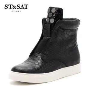 【星期六集团大牌日】星期六(ST&SAT) 蛇纹牛皮平跟圆头休闲短靴SS64117488 黑色 37