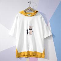 夏季男短袖T恤韩版五分袖卫衣连帽衫七分袖潮宽松半袖假两件衣服