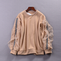 L@28 秋冬新时尚毛线上衣韩版蕾丝拼接百搭长袖毛衣