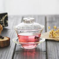 琉香玻璃盖碗茶杯子大码茶碗敬茶杯耐热盖杯功夫茶具配件三才盖碗150ML日式茶杯家用茶碗零