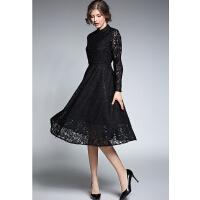 秋装女装中长款气质修身显瘦长袖蕾丝连衣裙秋冬打底裙长裙