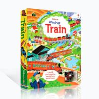 【全店满300减100】英文原版绘本 Wind-Up Train 上发条的小火车大开本英语纸板书 带发条的火车益智儿童玩