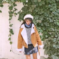 麂皮绒外套冬装机车羊羔女生韩版学生bf秋冬棉衣服可爱甜美加厚潮