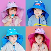 儿童防晒帽宝宝遮阳帽男童大帽檐太阳帽子女童渔夫帽防紫外线夏季