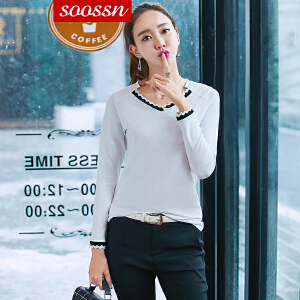 SOOSSN 2018t恤女长袖秋冬季新款女装修身纯色体恤上衣拼色打底衫6072