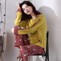 春秋睡衣女秋纯棉可外穿韩版薄款清新学生家居服长袖两件套装冬夏