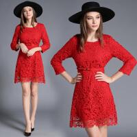 红色连衣裙秋装新款水溶蕾丝大码结婚礼服七分袖新娘回门裙子