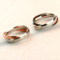韩版镀18K玫瑰金双环情侣戒指女对戒尾戒食指环日韩礼物刻字 黑色 5号 内直径1.57cm