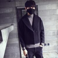 新款港风青年冬装个性韩版潮流短款呢子大衣男翻领风衣外套发型师