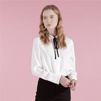 【2件3折到手价:89】白色衬衫女士冬季新款秋修身长袖上衣开衫领口系带木耳边衬衣