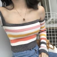 韩版chic风彩虹条纹性感修身露背长袖短款上衣一字肩针织衫女春季